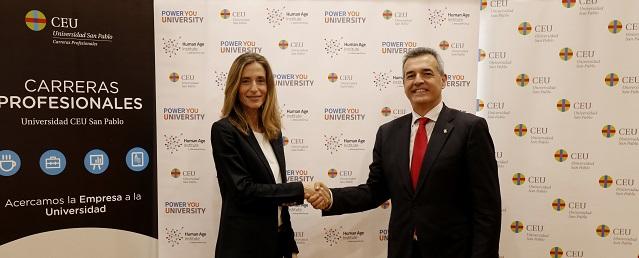 Loles Sala, directora de Human Age Institute, y Antonio Calvo Bernardino, Rector de la Universidad CEU San Pablo, tras la firma del convenio