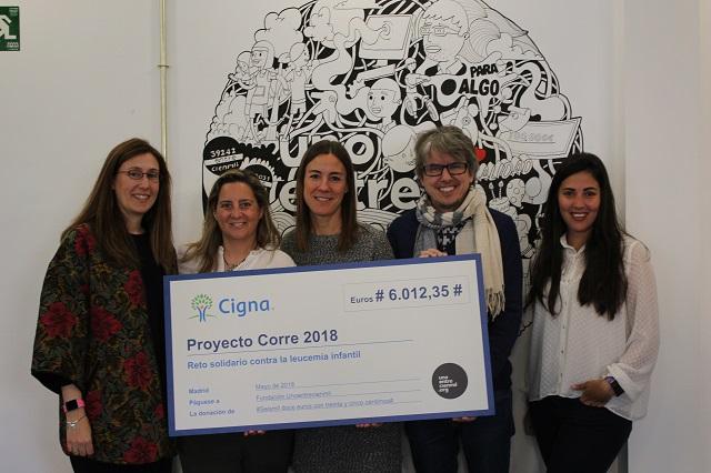 El equipo de RRHH de Cigna entrega el cheque solidario a la Fundación Unoentrecienmil_